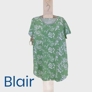 Blair Green and White Floral Print Tunic Size XL